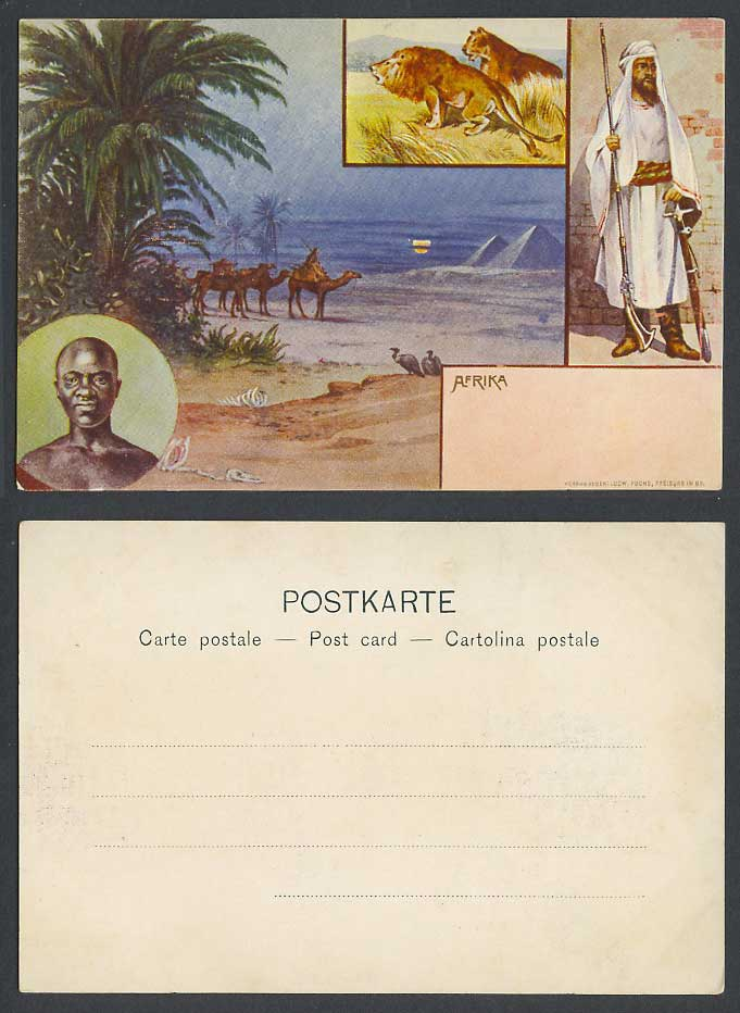 Africa Old Postcard Egypt Cairo Pyramids Giza Lion Arab Soldier Black Man Camels