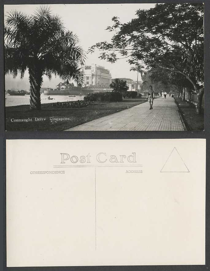 Singapore Old Real Photo Postcard Connaught Drive Street, Bridge, Police, Boats