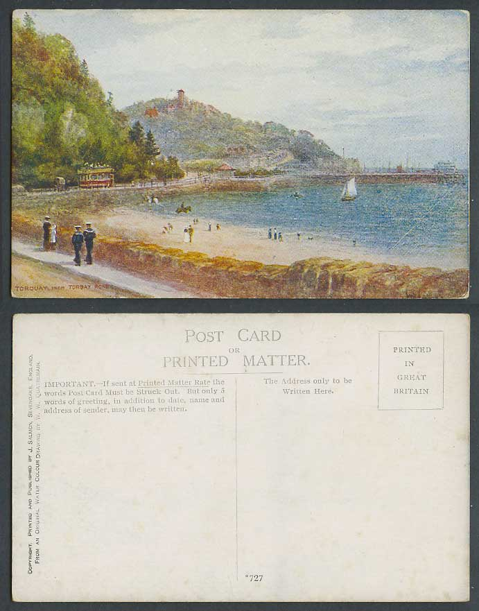 Torquay from Torbay Road, Devon, Beach TRAM Sailors W.W. Quatremain Old Postcard
