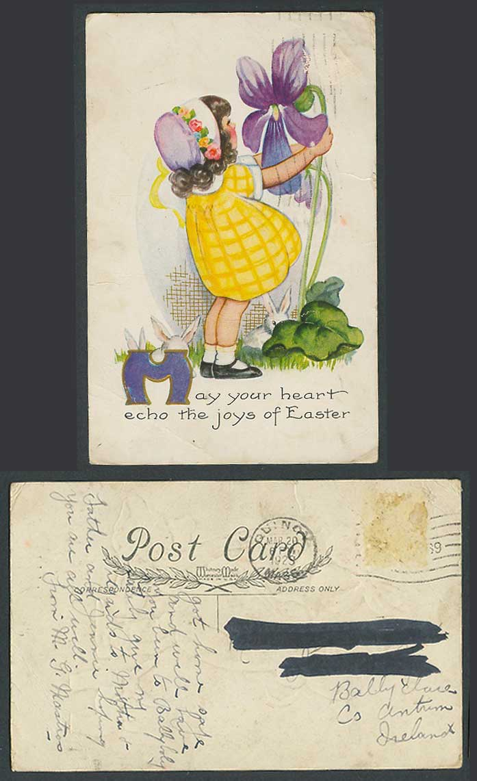 Little Girl Flower Rabbits, May Your Heart Echo Joys of Easter 1923 Old Postcard