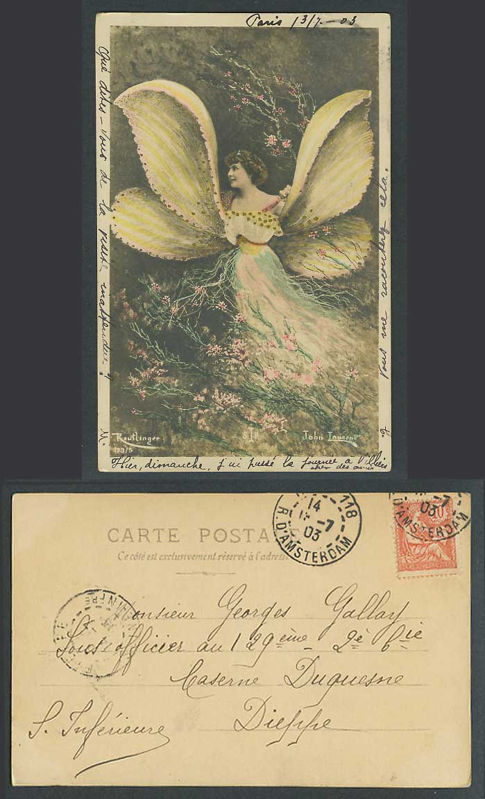 Glamour Lady Glamorous Woman with Butterfly Wings 1903 Old Hand Tinted Postcard