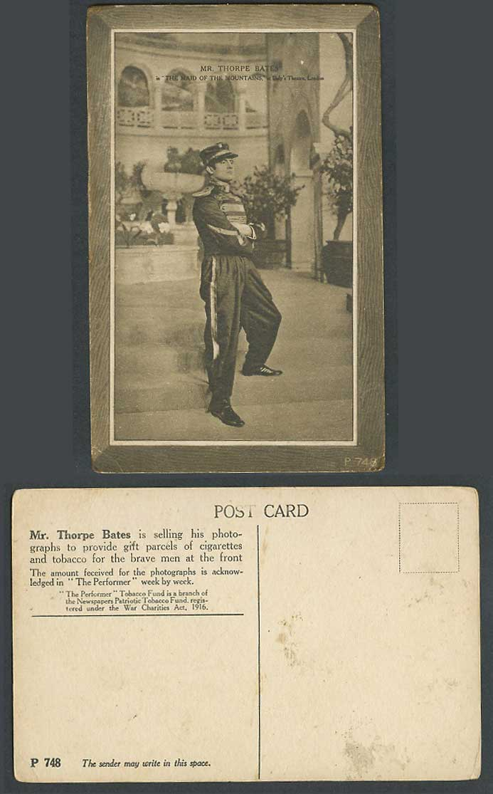 Actor Thorpe Bates, The Maid of the Mountains Daly's Theatre London Old Postcard