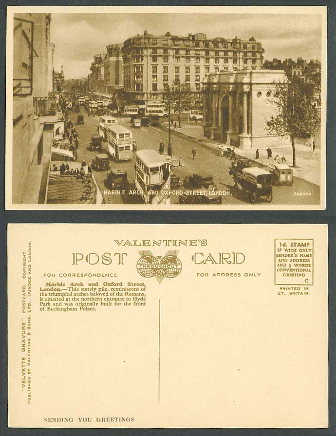 London Old Postcard Marble Arch Oxford Street Scene, North Entrance to Hyde Park