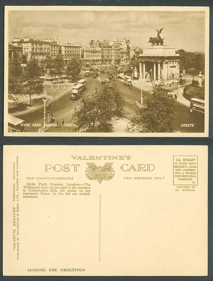 London Old Postcard Hyde Park Corner, Wellington Arch Constitution Hill Entrance