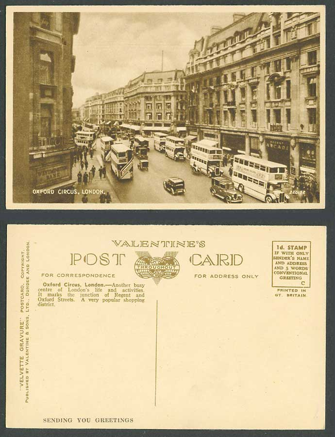 London Old Postcard Oxford Circus, Street Scene, Regent Arcade, Westminster Bank