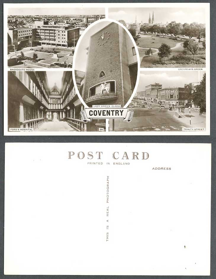 Coventry Old Postcard Lady Godiva Clock Broadgate Hse Ford's Hospital Trinity St