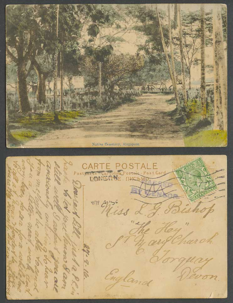 Singapore WW1 Passed By Censor KG5 1916 Old Hand Tinted Postcard Native Cemetery