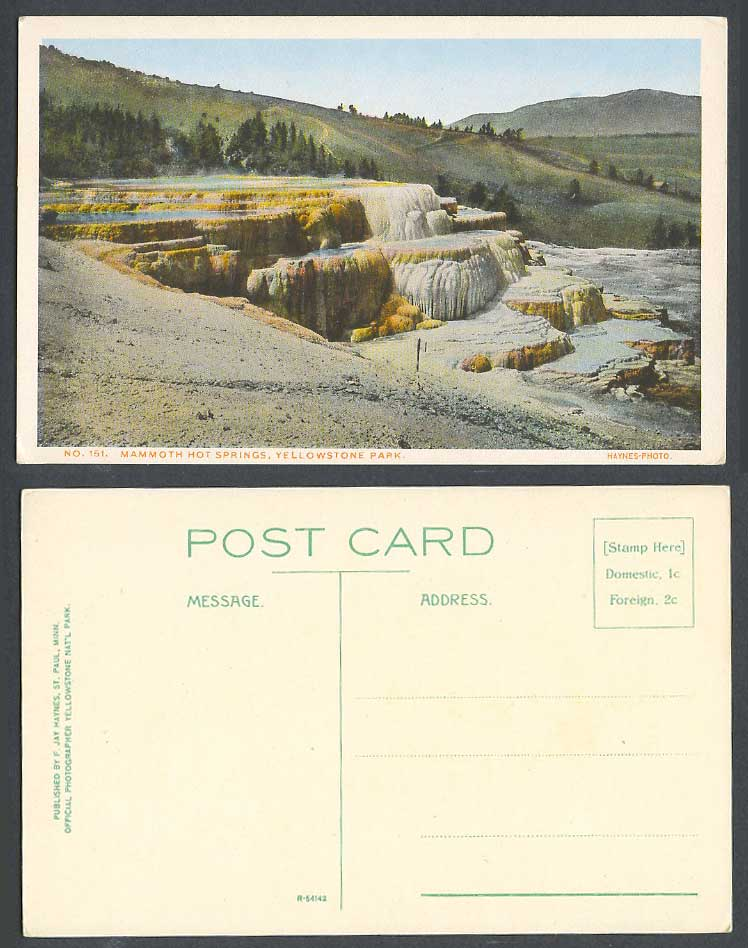 USA Old Colour Postcard Yellowstone Park Mammoth Hot Springs, Mountains Panorama