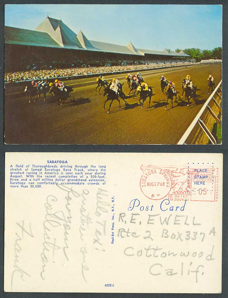 USA NY Saratoga Springs, Race Track Horse Racing Thoroughbreds 1968 Old Postcard