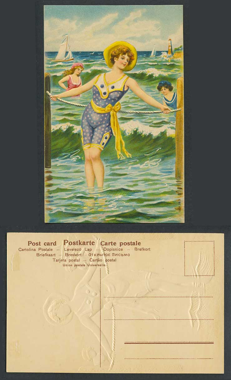 Bathing Belles Girls Women Ladies Bathers Lighthouse Boats Old Embossed Postcard
