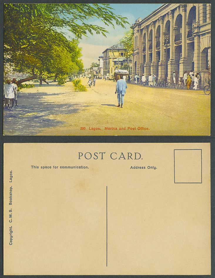 Nigeria Old Colour Postcard Lagos Marina Post Office Street Scene Bicycles Bikes