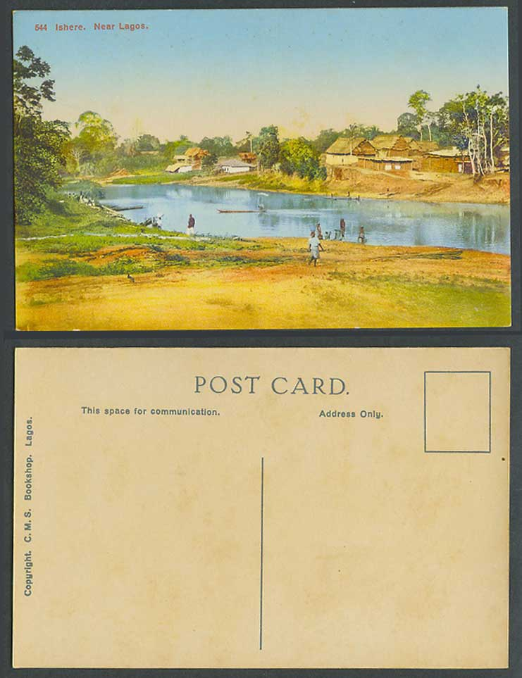 Nigeria Old Colour Postcard Ishere, near Lagos River Scene Native Village Houses