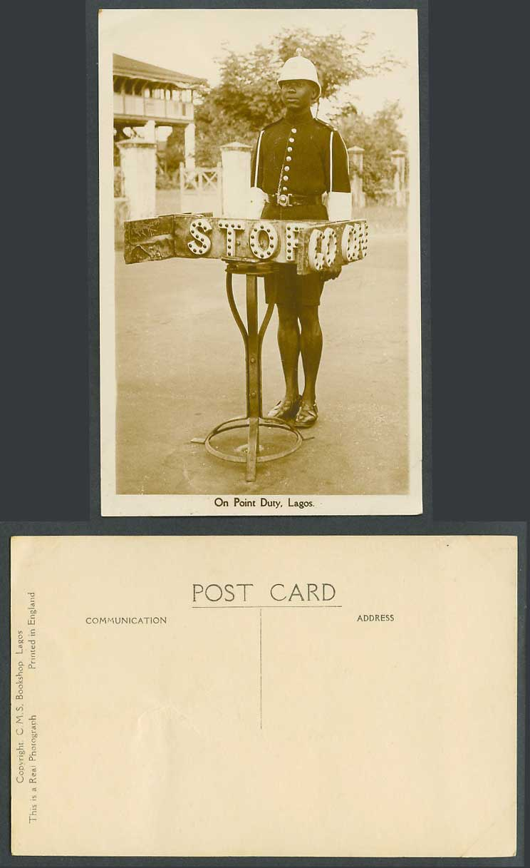 Nigeria Old Real Photo Postcard On Point Duty Lagos Traffic Police STOP Sign Str