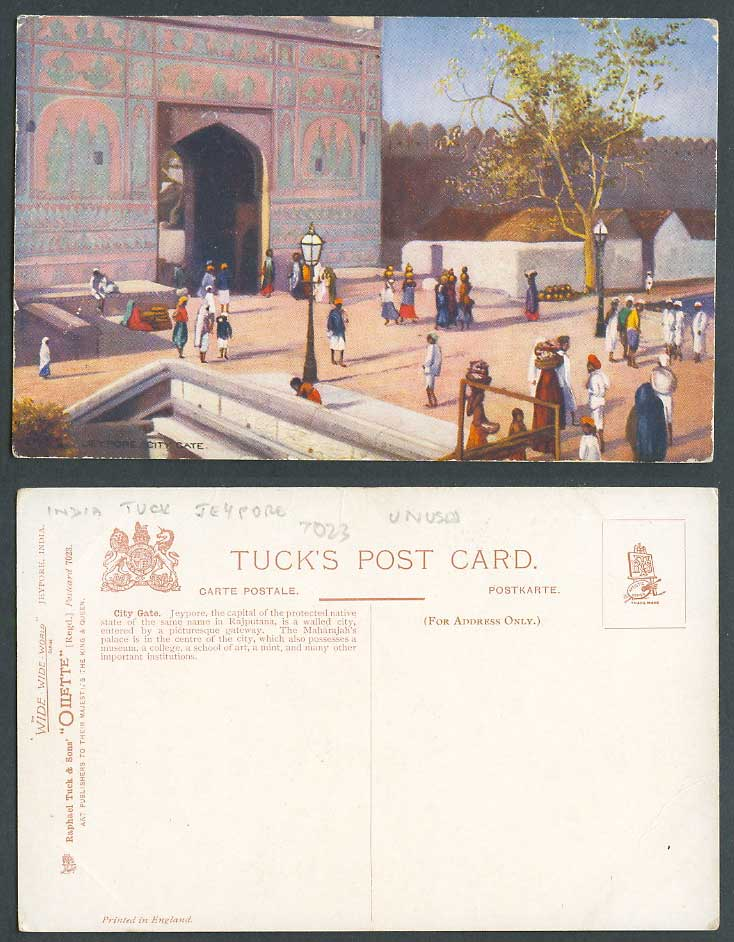 India Old Tuck's Oilette Postcard Jaipur Jeypore City Gate Gateway Rajasthan ART