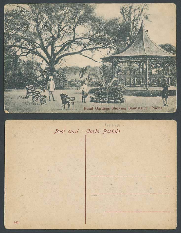 India Old Postcard Bund Gardens showing Bandstand POONA Pune Band Stand Gardener