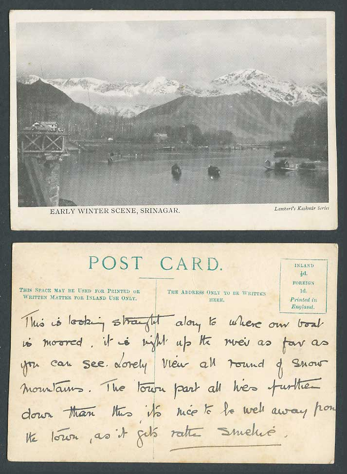 India Old Postcard Srinagar Early Winter Scene, Boats River Lake Snowy Mountains