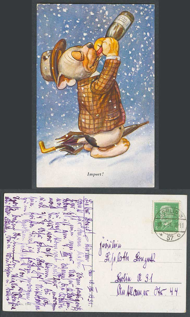 BONZO DOG GE Studdy Style 1931 Old Postcard Import! Puppy Drinking Wine in Snow