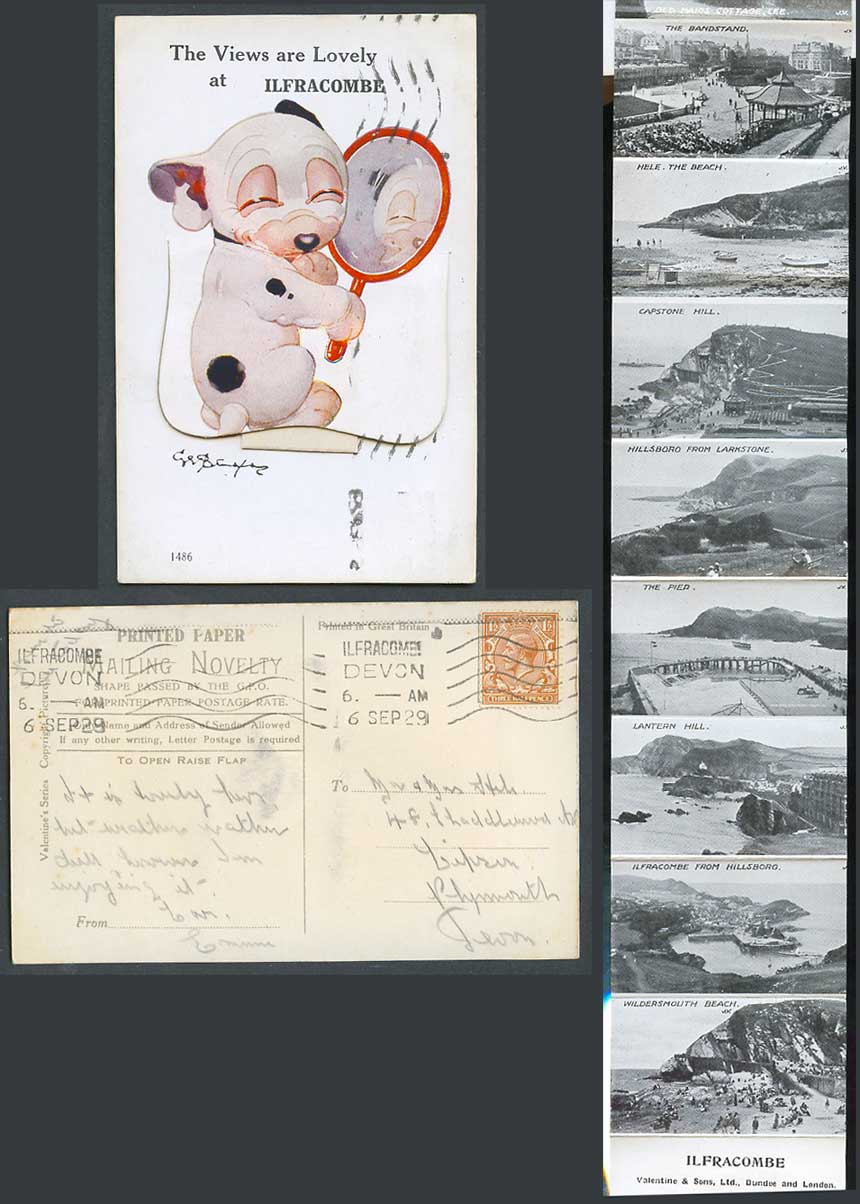 BONZO DOG G.E. Studdy 1929 Old Postcard Pull-Out Lovely Views at Ilfracombe 1486