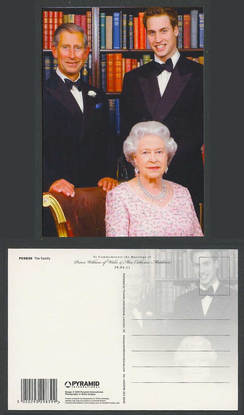 The Family, Queen & Charles Marriage Prince William Catherine Middleton Postcard