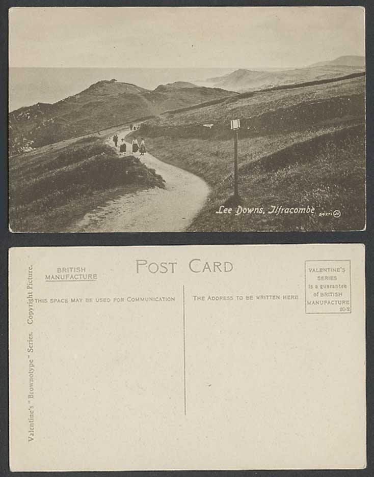 Ilfracombe, Lee Downs, Devon, Panorama Women Ladies Road Path Hills Old Postcard