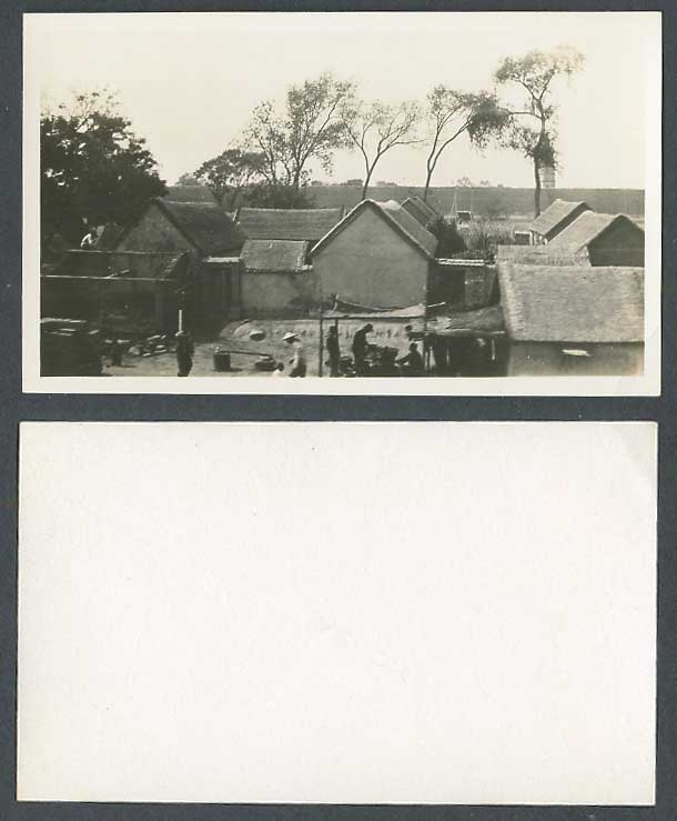 China c.1930 Old Real Photo Card Chinese Countryside Farm House Millstone Peking