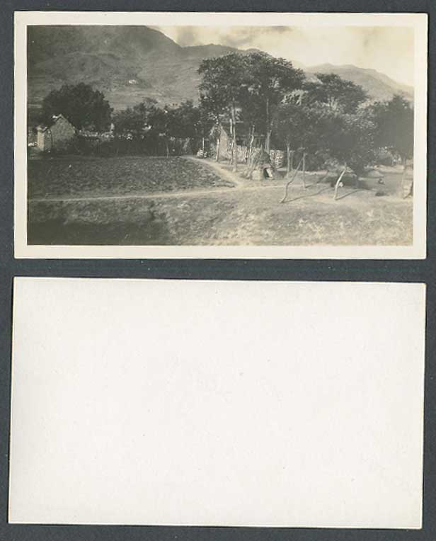 China c.1930 Old Real Photo Card Kiln Native Chinese Houses Mountain Hill Peking