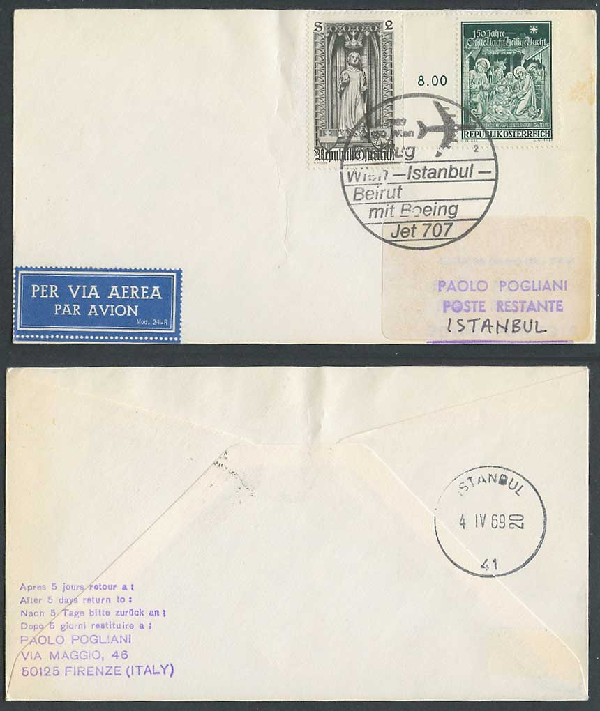 BOEING Jet 707 First Flight Cover 1969 Wien - Istanbul Turkey - Beirut Lebanon