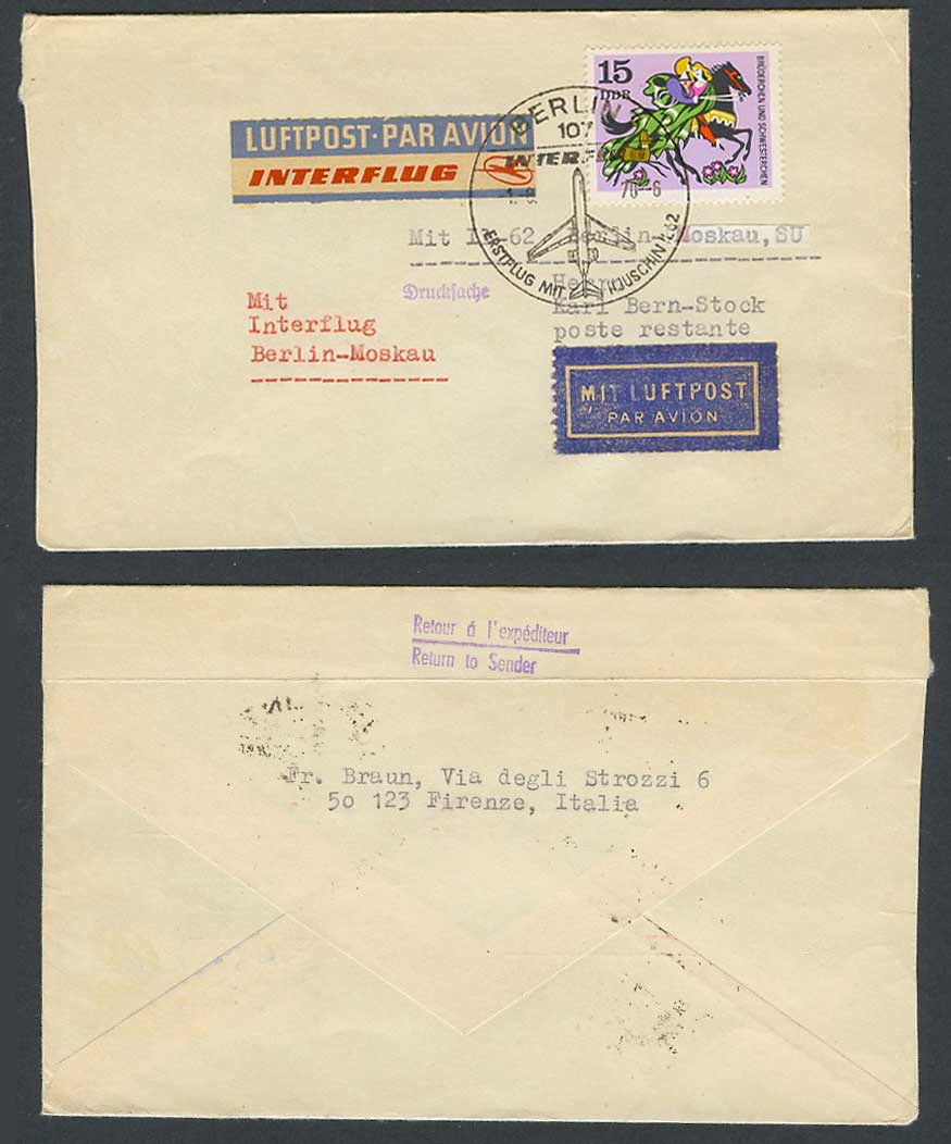 East Germany 1.8. 1970 First Flight Cover Interflug IL 62 Berlin Moscow Russia