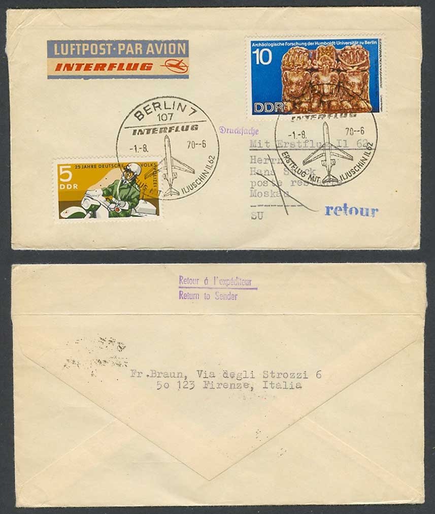 Germany Police 1.8. 1970 First Flight Cover Interflug IL 62 Berlin Moscow Russia