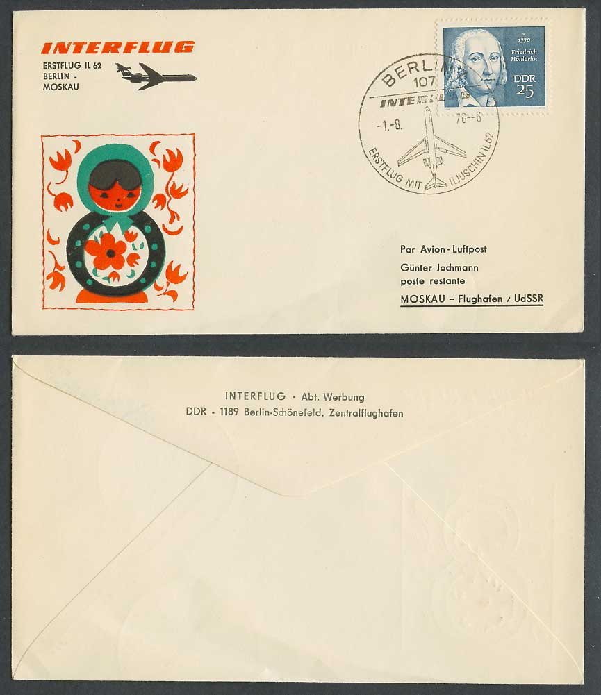East Germany INTERFLUG IL62 1970 First Flight Cover Berlin - Moscow Russian Doll