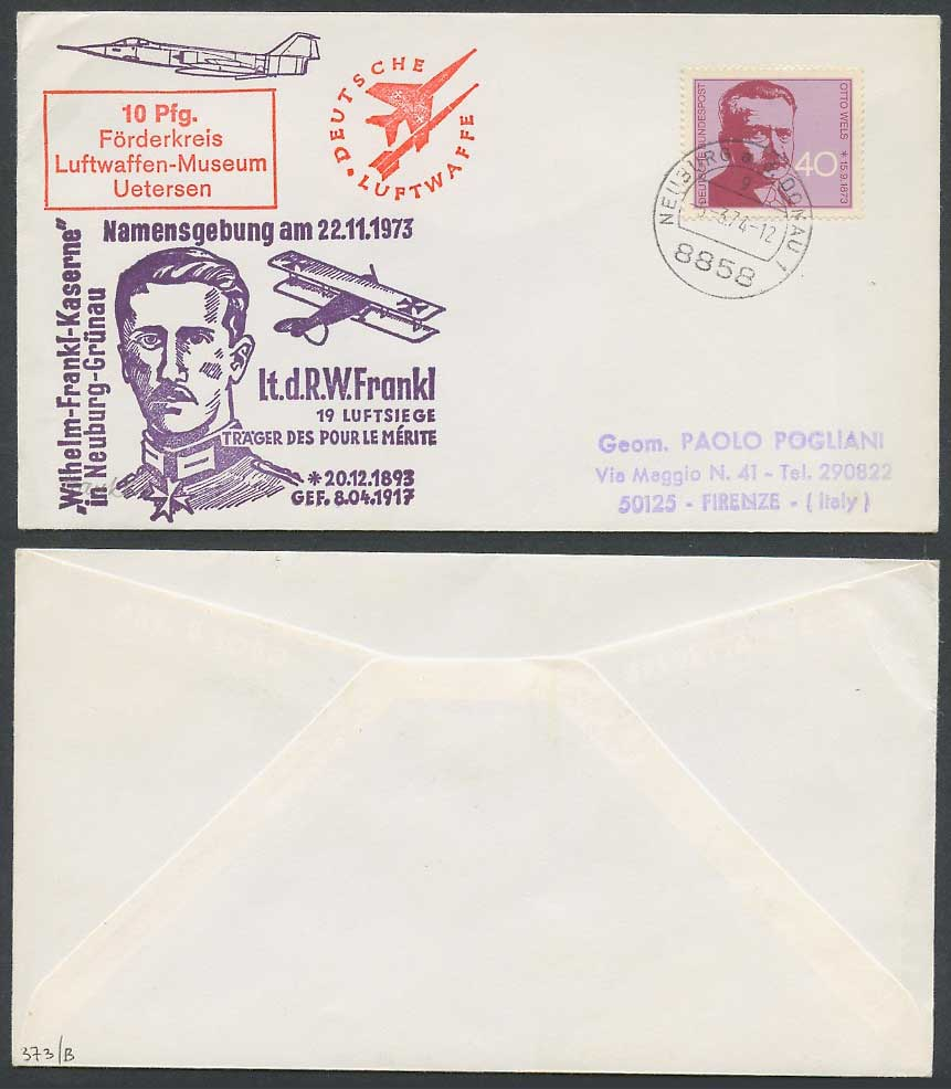 Deutsche Luftwaffe German Air Force 1974 Flight Cover Biplane Lt.d. R.W. Frankl.