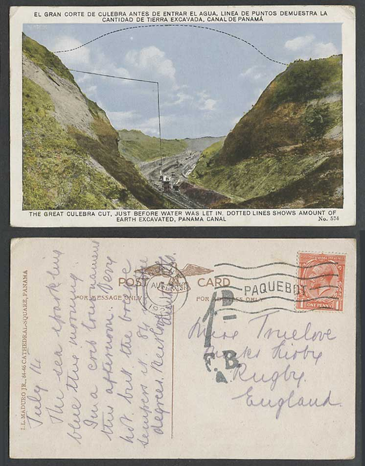 Panama Canal Great Culebra Cut Gran Corte PAQUEBOT Postage Due 1926 Old Postcard