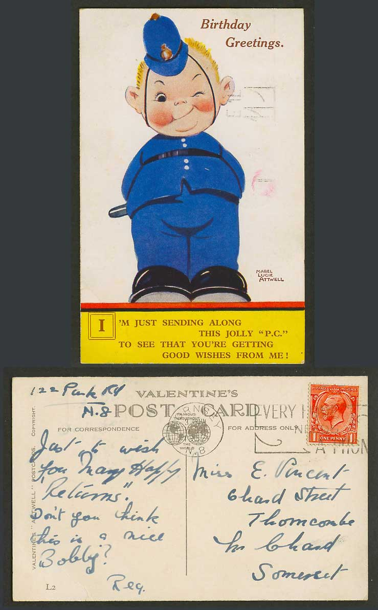 MABEL LUCIE ATTWELL 1932 Old Postcard Police, Birthday Greetings, Good Wishes L2