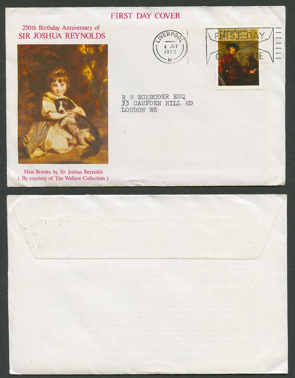 Miss Jane Bowles Dog 250th Birthday Anniv. Joshua Reynolds 1973 First Day Cover