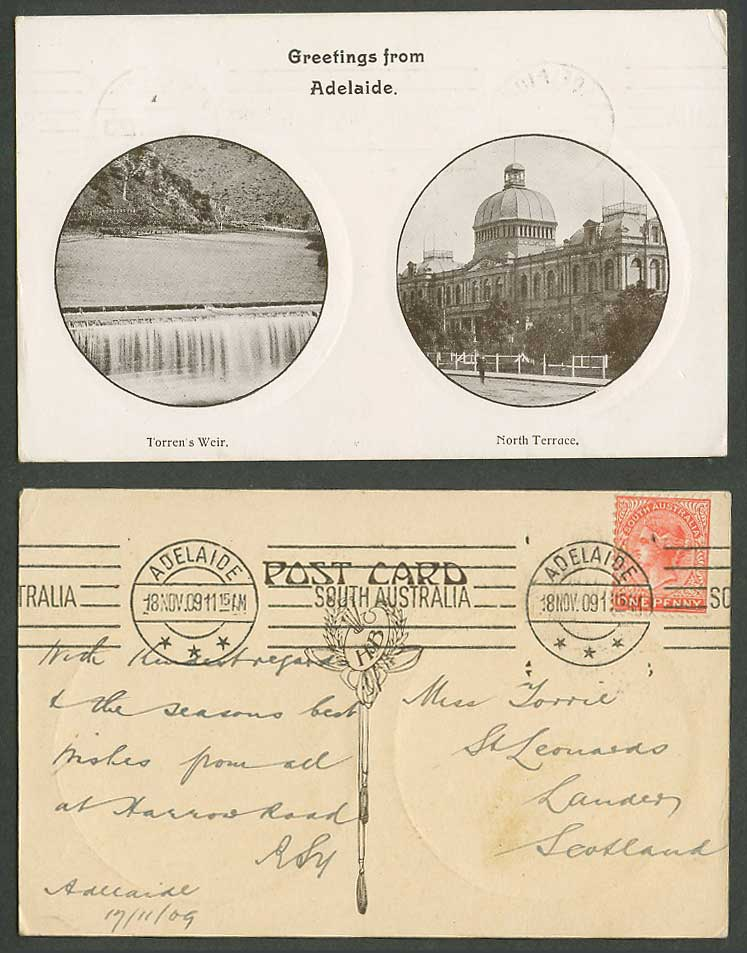 Australia QV 1d 1909 Old Postcard Adelaide North Terrace Torren's Weir Waterfall