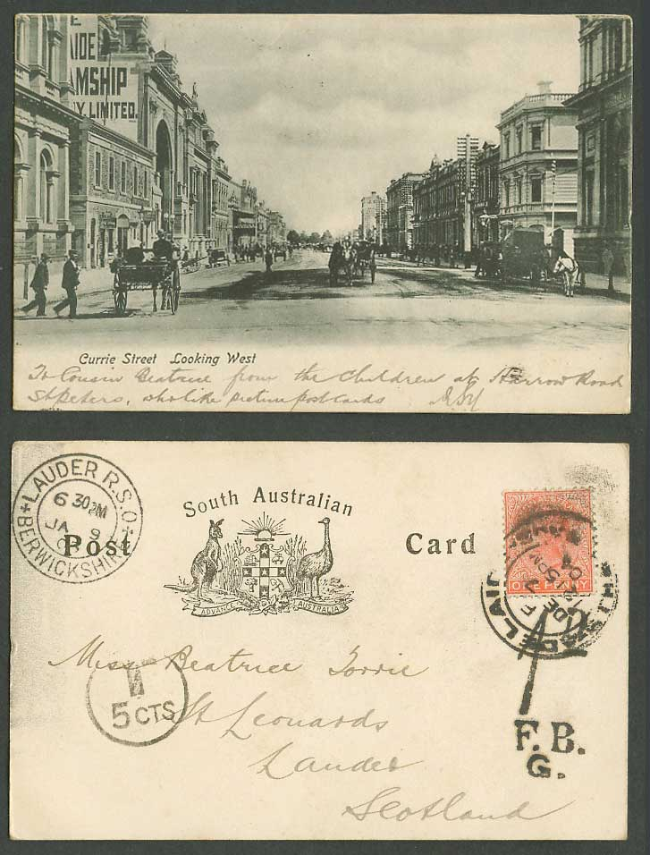 Australia Dues QV 1d 1904 Old Postcard Adelaide Currie Street Scene Looking West