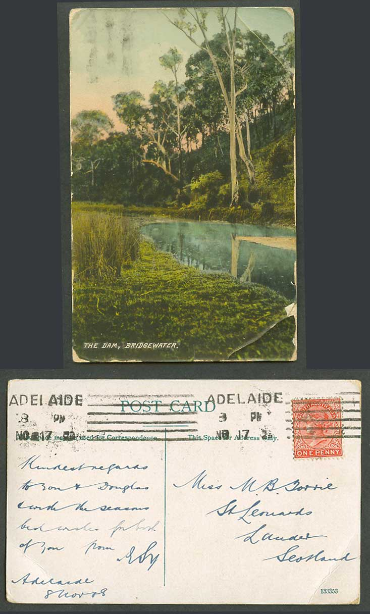 South Australia Bridgewater, The Dam, Queen Victoria 1d 1917 Old Colour Postcard