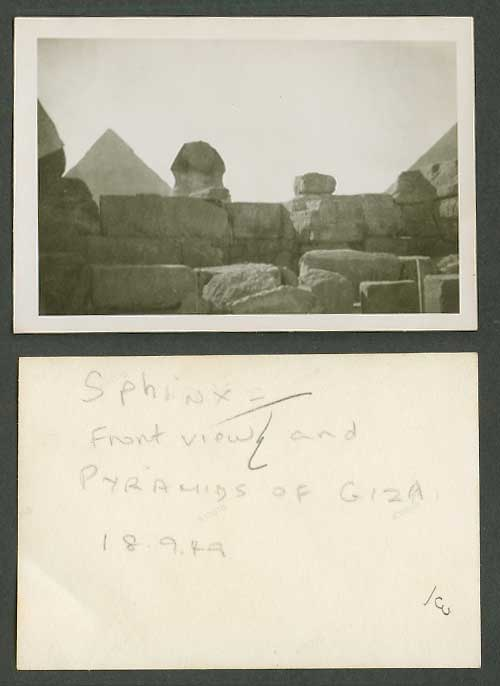 Egypt 1949 Old Small Real Photo Card Cairo, Sphinx Front View & Pyramids of Giza