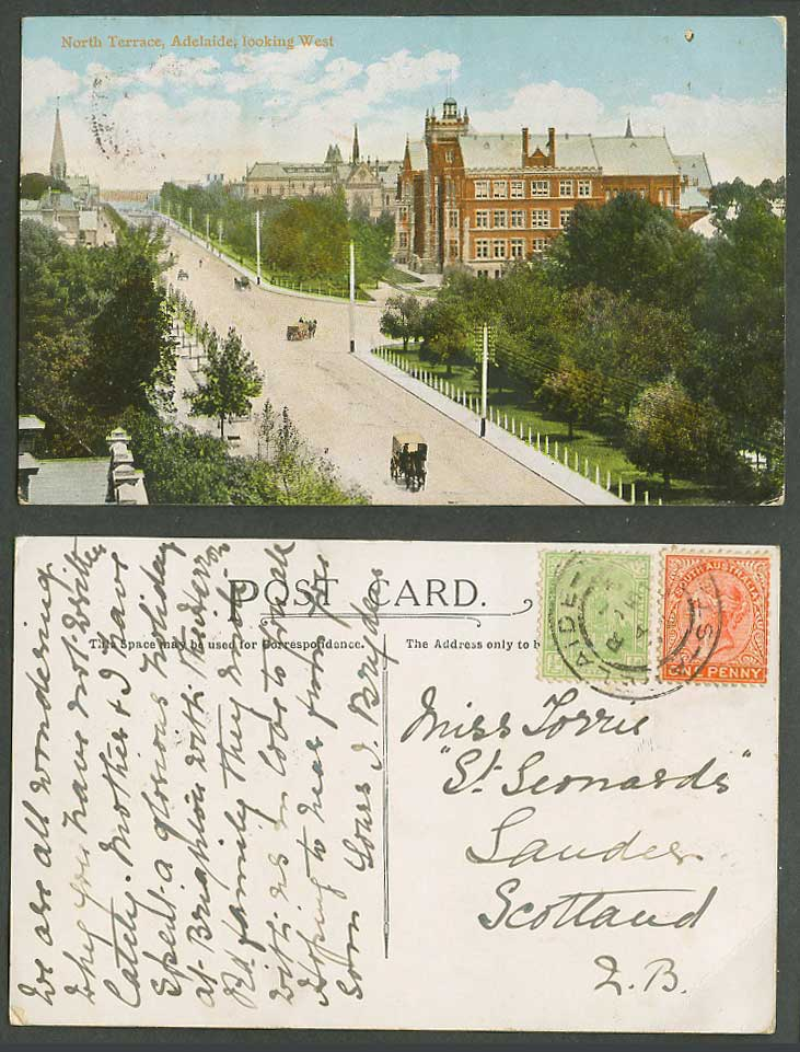Australia 1/2d QV 1d Old Postcard Adelaide North Terrace Look West, Street Scene