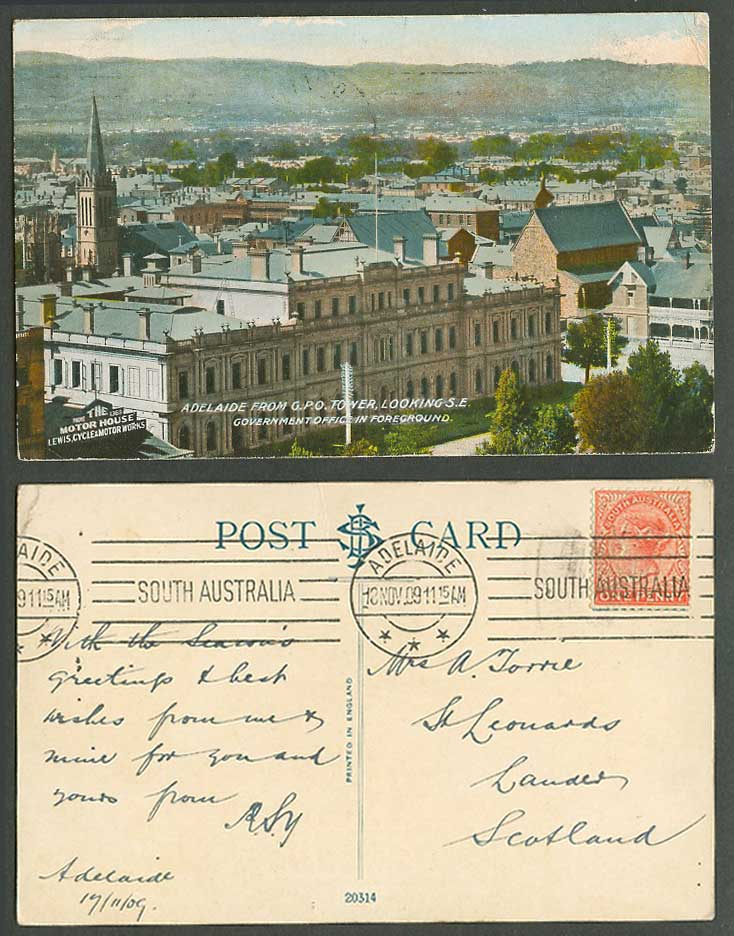 Australia QV 1d 1909 Old Postcard Adelaide from G.P.O Tower SE Government Office