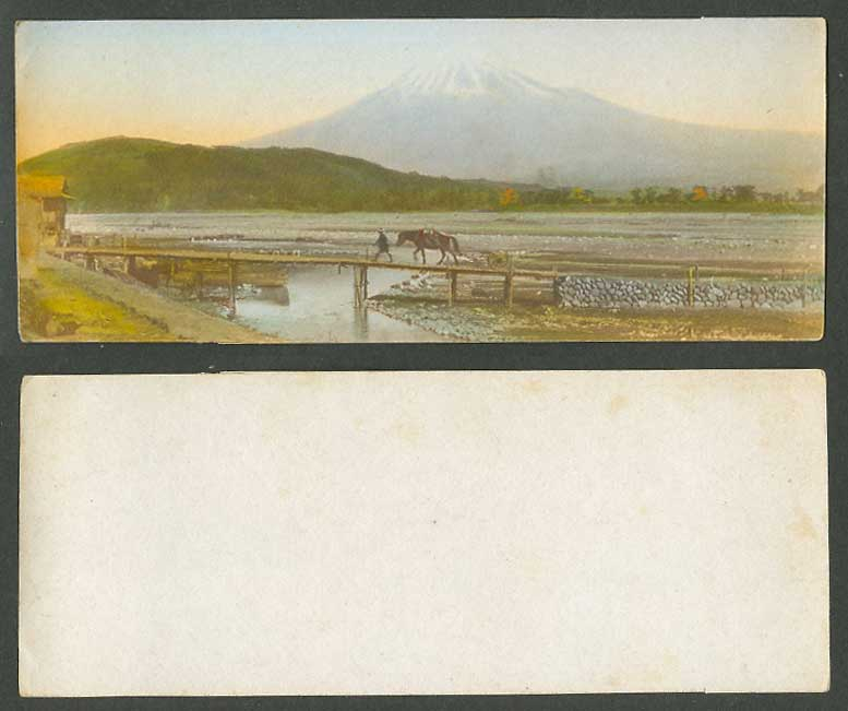 Japan Old Hand Tinted Picture Bookmark Style Mount Mt Fuji Horse on Bridge River