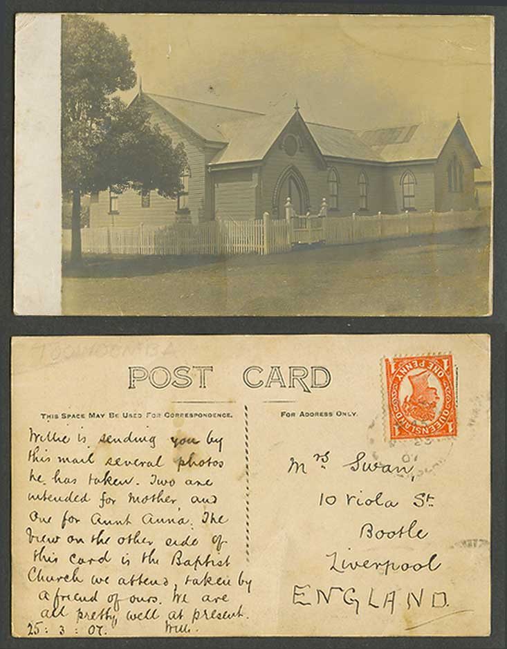 Australia Queensland QV 1d 1907 Old RP Postcard Toowoomba, Church House Building
