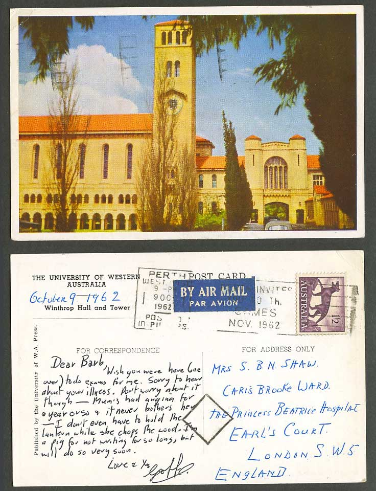 University of Western Australia 1962 Old Postcard Winthrop Hall & Tower, Airmail
