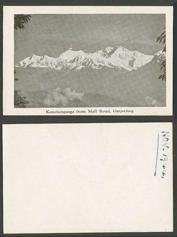 India Nov. 1944 Old Small Card Kanchenjanga from Mall Road, Darjeeling Mountains