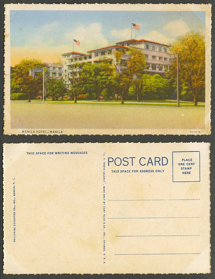 Philippines Old Colour Postcard Manila Hotel, US Flag Flags of United States USA