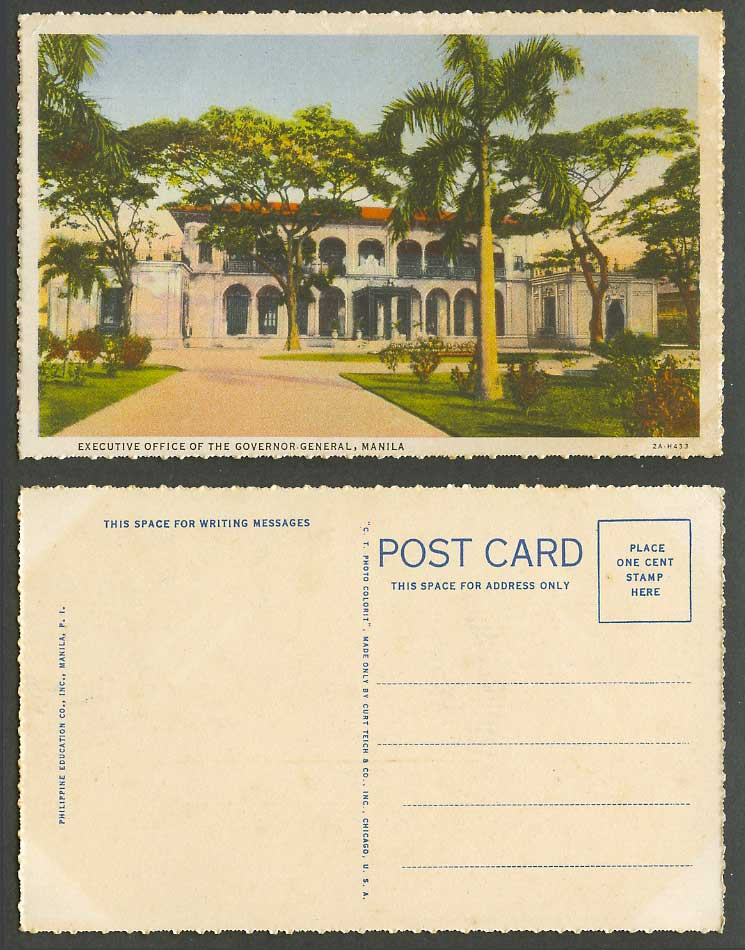 Philippines Old Colour Postcard Manila, Executive Office of The Governor General