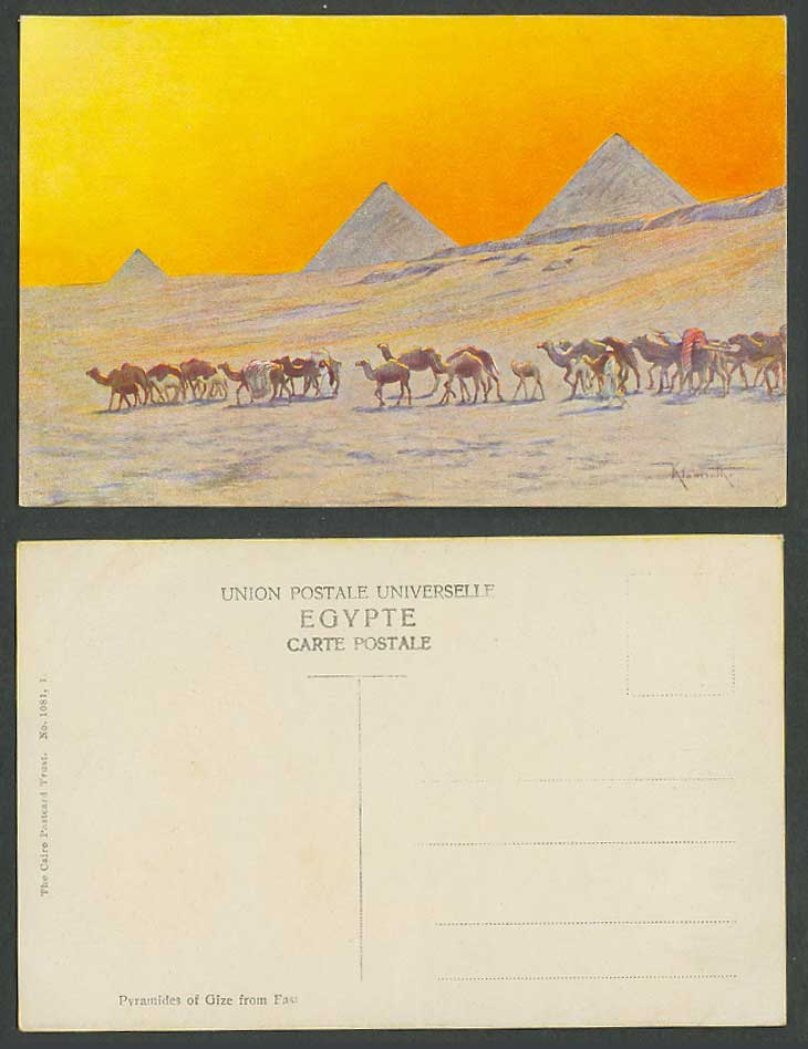 Egypt Klamath Old Postcard Cairo Pyramids Giza from East, Camels, Pyramides Gize
