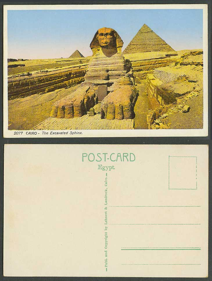 Egypt Old Colour Postcard Cairo The Excavated Sphinx Pyramids Giza Le Caire 2077