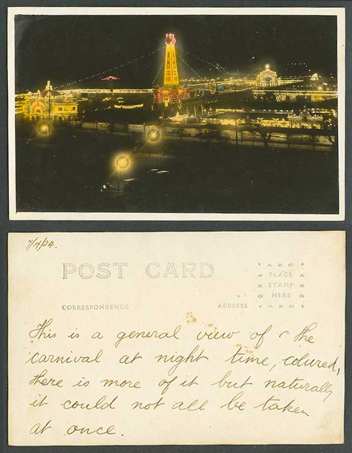 Philippines 1924 Old Real Photo Postcard Manila Carnival General View at Night