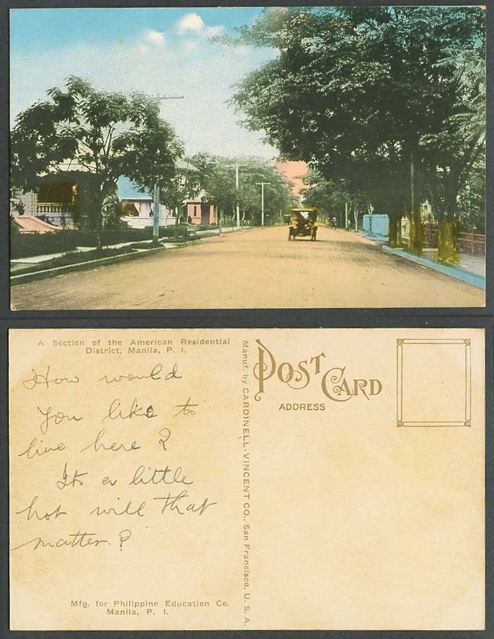 Philippines 1924 Old Postcard The American Residential District Street Scene Car
